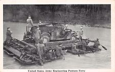 U S ARMY ENGINEERING PONTOON FERRY~ MILITARY NATIONAL DEFENDERS POSTCARD