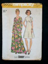 1970's Vintage SIMPLICITY 5850 SHORT & LONG FLARED DRESS PATTERN / Sz 14 Miss