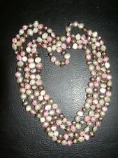 "Wow! Real Fresh Water Pearl Multi-Col Single String 54"" Necklace Birthday Gift"