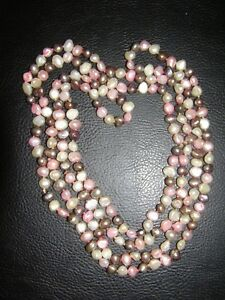 """Real Fresh Water Pearl Multi-Colour Single String 54"""" Necklace Birthday Gift"""