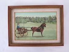 """Dogcart Horse Carriage Painting Signed """"KWR"""" New Jersey Vintage Oil on Board"""