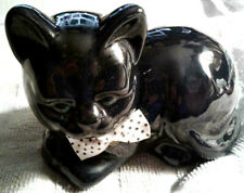 cute black/blue with poke-a-dot bow green eyed cat figurine made in tiawan