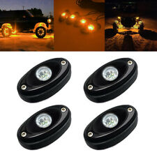 Amber LED Rock Light 4 pod Lights for Off Road Truck Car ATV SUV Under Wheel 4X4
