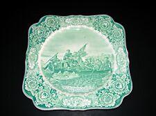"Crown Ducal President Memorial Green Square Plate ""Washington Crossing Delaware"""