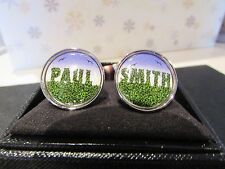 New Mens Paul Smith PS ACCESSORIES Ceramic Grass Cufflinks,
