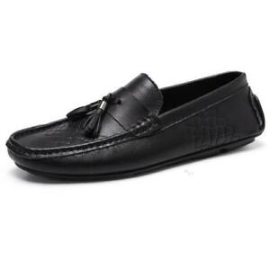 Mens Faux Leather Pumps Slip on Loafers Shoes Driving Moccasins Tassels Casual L