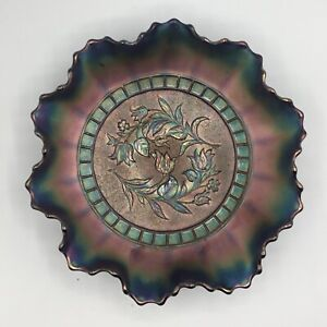 """CARNIVAL  MAGNIFICENT DUGAN BLUE WIND FLOWER RUFFLED BOWL""""SMOOTH EXTERIOR"""""""