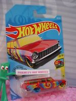 "'64 CHEVY NOVA WAGON #188 ☮red; tie dye; ""E"" ☮ART CARS☮2019 i Hot Wheels case Q"