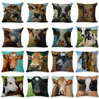 Linen Oil Painting Cow Pillow Case Sofa Car Waist Cushion Cover Home Decor