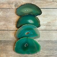 """Set of 4 Green Agate Slices: ~3.15 - 3.45"""" Long w/ Quartz Crystal Geode Centers"""