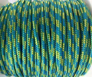 Reepschnur 2, 3 und 4 mm grün-gelb-blau, PES Polyester geflochten Flechtkordel