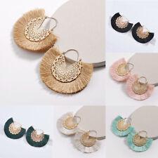 Round Tassel Boho Earrings Bohemian Fan Retro Statement Gold Circle Fringe Hoop