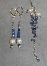 Genuine Blue Sapphire & Lustrous Fresh Water White Pearl 925 Pendant & Earrings