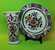🌟 Ceramic Plate & Vase   Royal Porceleyne Fles Delft Polychroom   Holland 1950s