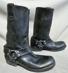 MENS DURANGO BLACK LEATHER BUCKLE ENGINEER BOOTS SIZE 8 D