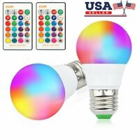 2 Pack E26 E27 LED Light Bulbs RGB 16 Color Changing 3W Warm White with Remote