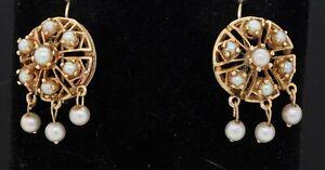 Vintage 14K gold beautiful 2.8 to 3.7mm pearl cluster chandelier hook earrings