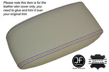 PURPLE STITCH NON SLIDING CHAMPAIGNE BEIGE ARMREST SKIN COVER FITS JAGUAR X-TYPE