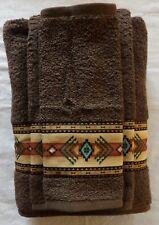 Southwest/Western Decor Towel Set, 3 pc brown   ,Custom Southwest Aztec Border