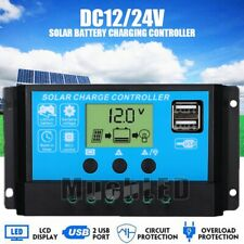 30-60A 12V 24V Dual USB Solar Panel Battery Charge Controller LCD Regulator Auto