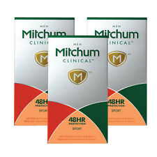 3 X MITCHUM MEN CLINICAL 48 HR PROTECTION SPORT 45G ANTI-PERSPIRANT ROLL-ON
