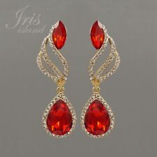 18K Gold Plated GP Red Crystal Rhinestone Chandelier Drop Dangle Earrings 07875