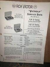 RCA Victor VJP 21 & 25 Series -Service Data-schematics, Parts List. Original