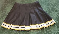 Vintage Cheerleader Skirt Black Yellow White Trim