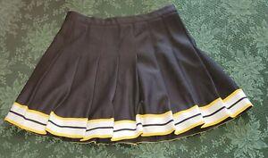 Vintage Cheerleader Skirt Black Yellow White Trim
