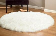 Shag Carpet Round - Premium Faux Fur - White Sheepskin Area Rug New 4'
