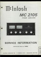 Rare Original Factory McIntosh MC 2105 Stereo Power Amp Amplifier Service Manual