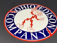 """VINTAGE OHIO EDISON ELECTRIC SERVICE COMPANY METAL ADVERTISING SIGN 12"""" GAS OIL"""
