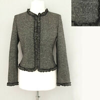 LK Bennett Collarless Blazer 12 Wool Tweed Jacket Grey Steampunk Formal Office