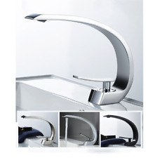 Bathroom Faucet Curve Shaped Single Handle Deck Mount Brass Basin Sink Mixer Tap