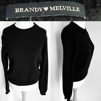 Brandy Melville Black Jumper Thick Wool Knit Long Sleeves Scoop Neck Size M