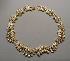 "Kenneth Lane Necklace Marquise Diamante Rhinestones Gold-tone Leaf Links 15-1/4"""