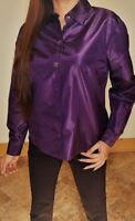 MICHAEL KORS Women's 6 Glossy Purple 100% SILK Button-Down Shirt Made in ITALY