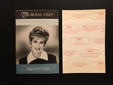 Rare Press Pool Pass from the Princess Diana Visit to Chicago in 1996