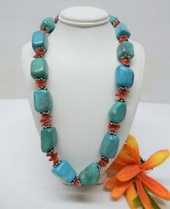 """TURQUOISE COLORED STONE BEAD NECKLACE WITH CORAL & SILVER TONE SPACERS 17"""" LONG"""
