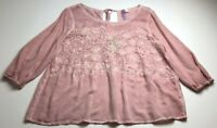 Alya Women's ¾ Sleeve Blouse Top Medium M Faded Pink Floral Boho Romantic Spring