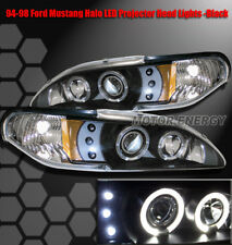 94-98 FORD MUSTANG HALO LED PROJECTOR HEADLIGHTS BLACK