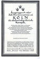 Internationale Presse- Ausstellung Köln Pressa Historische Annonce 1928