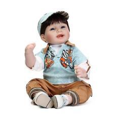 """Reborn Baby Boy Dolls 22"""" Silicone Vinyl Handmade Lifelike Cloth Body Realistic"""