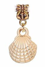 Scallop Shell Seashell Beach Gold Tone Dangle Charm for European Bead Bracelets