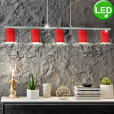 Luxury LED Ceiling Hanging Pendant Lamp Light Glass Red Chrome Dining Room