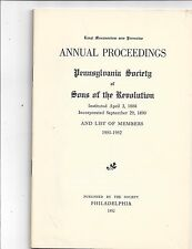 Proceedings for Pennsylvania Society of Sons of the Revolution, 1952  Lot 53