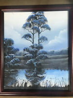 "Todd Anderson ""Florida Landscape Scene In Blues "" Oil Painting - Signed/Framed"