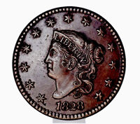 1828 P 1 Cent Coronet Head Large Narrow Date Chocolate Brown Color 193 Years Old