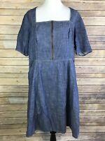 Eshakti 1X/18W Plus Size Womens Blue Denim Chambray Cotton Zipper Dress