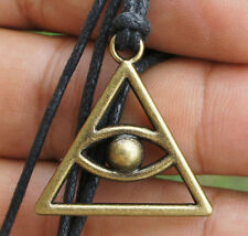 All seeing evil eye Illuminati Pyramid Brass Pendant adjustable cotton necklace